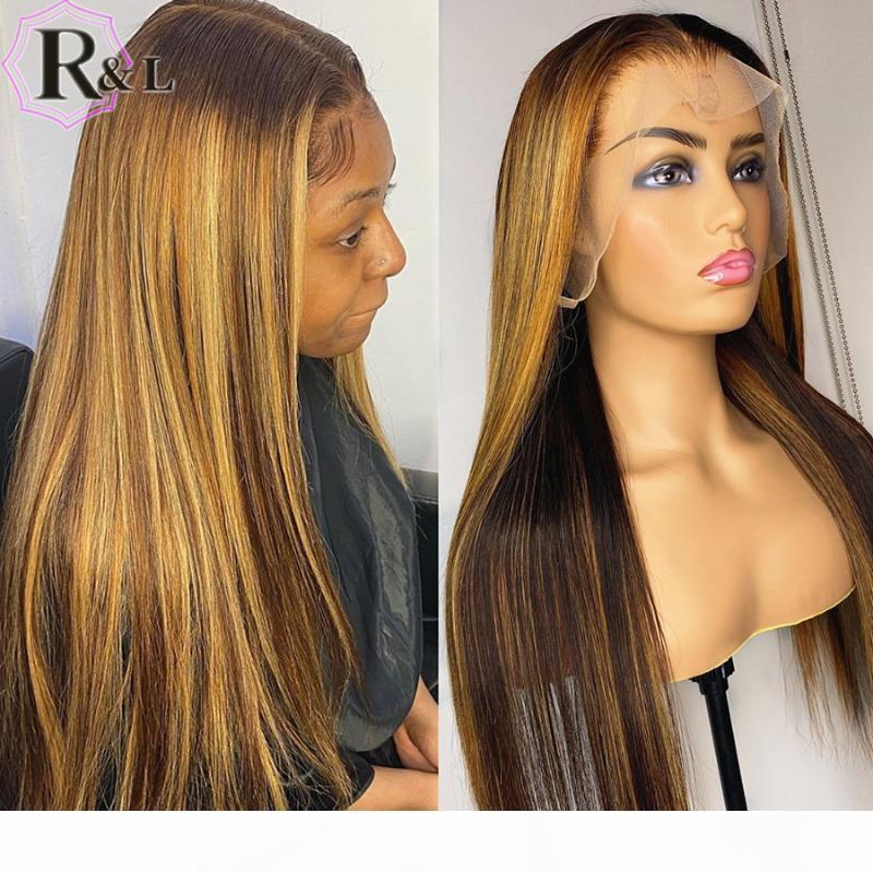 Rulinda Highlight OMBRE кружева передние человеческие парики волос Прямая Т-часть Бразильский REMY Hair кружевные парики 180% плотность
