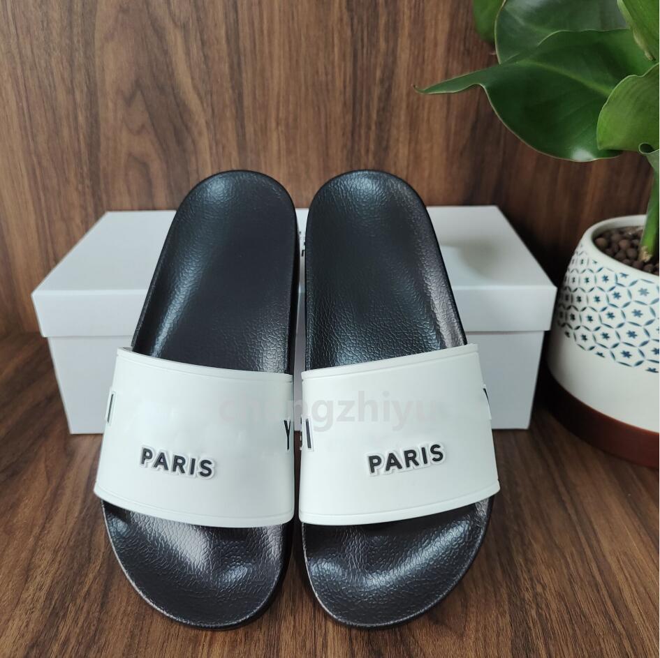 أعلى جودة باريس أزياء رجالي إمرأة الصيف الصنادل المطاط الشاطئ الشريحة الأزياء أشع النعال حذاء داخلي حجم 36-45 مع مربع