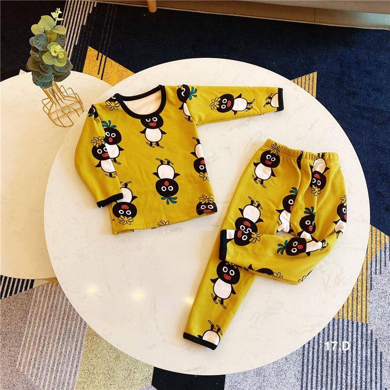 Terno das Crianças Meninos Meninas Underwear Set Toddler Pijamas Roupas Rodada Pescoço Serviço de Casa Plus Velvet Thermal Thermal