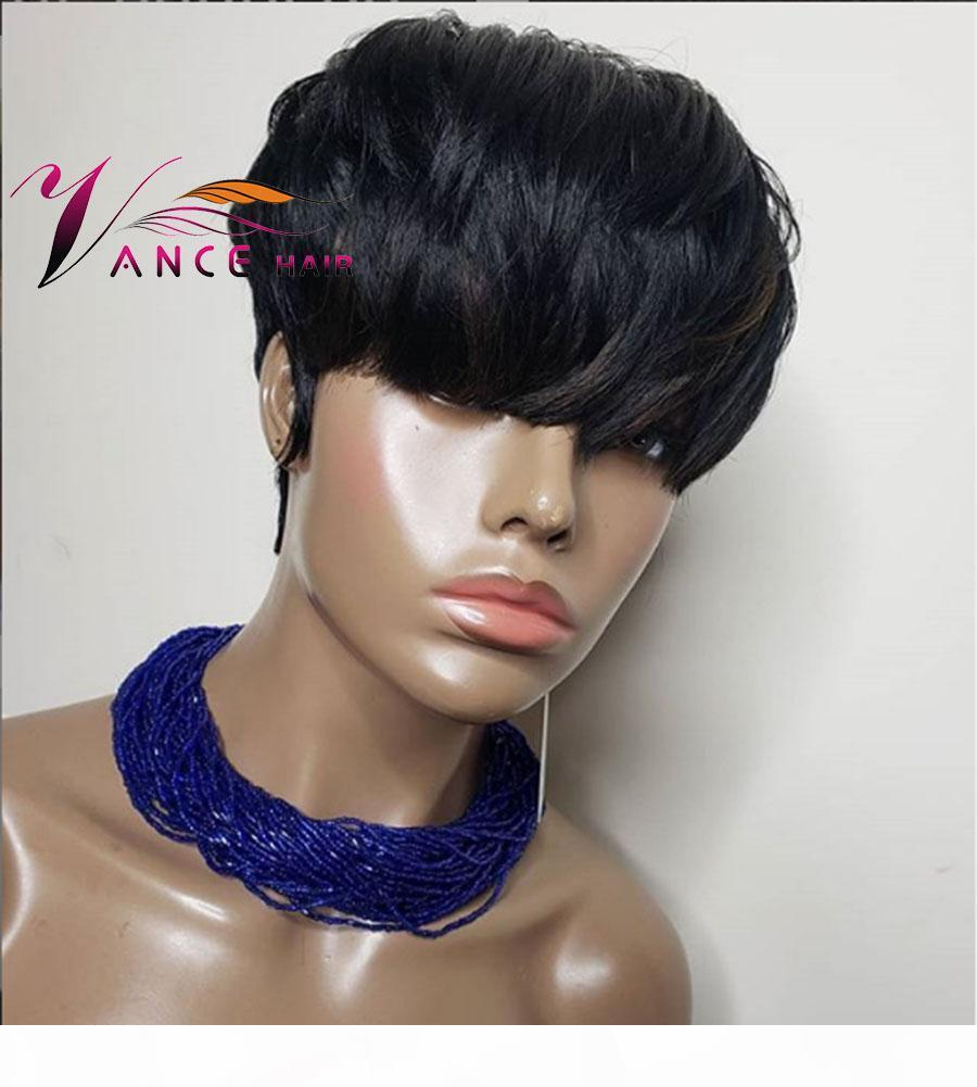 vancehair полной машины парик 150% плотность человеческих волос Короткого Pixie Cut Layered парики бразильский Реми волос для женщин