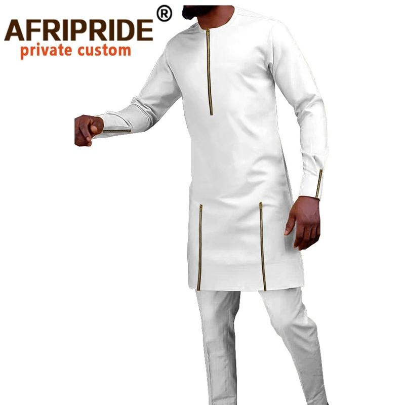 Cousssuit Мужчины африканская одежда Дашики рубашки и брюк 2 шт. Набор нарядов Bazin Riche с длинным рукавом плюс размер размера A028 201109