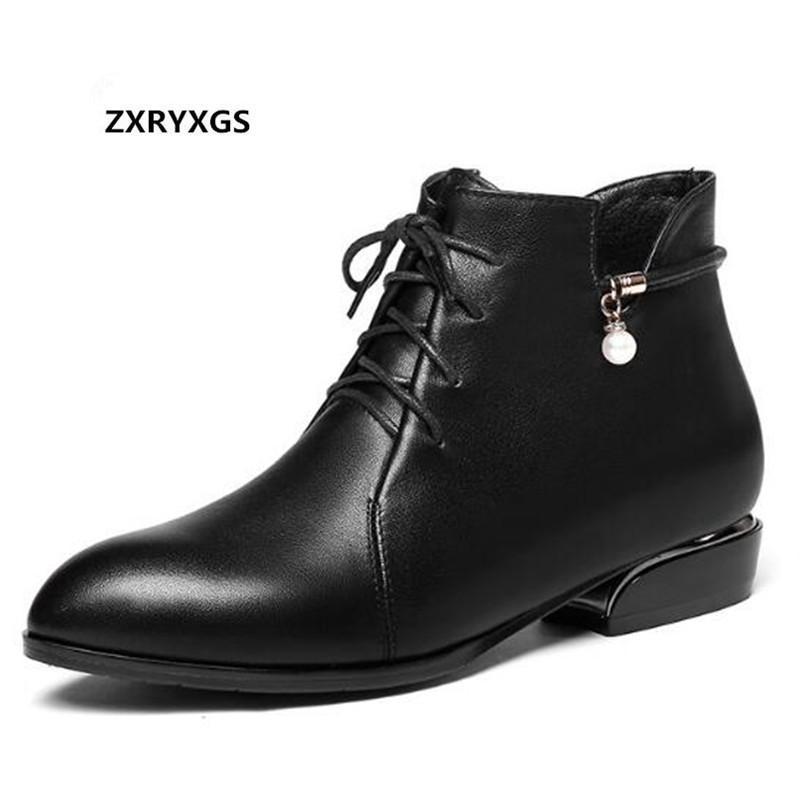 Çizmeler Yumuşak Dana Tek Sonbahar Konfor Düşük Topuk Ayakkabı Kadın 2021 Sıcak Kış Hakiki Deri Kar Siyah