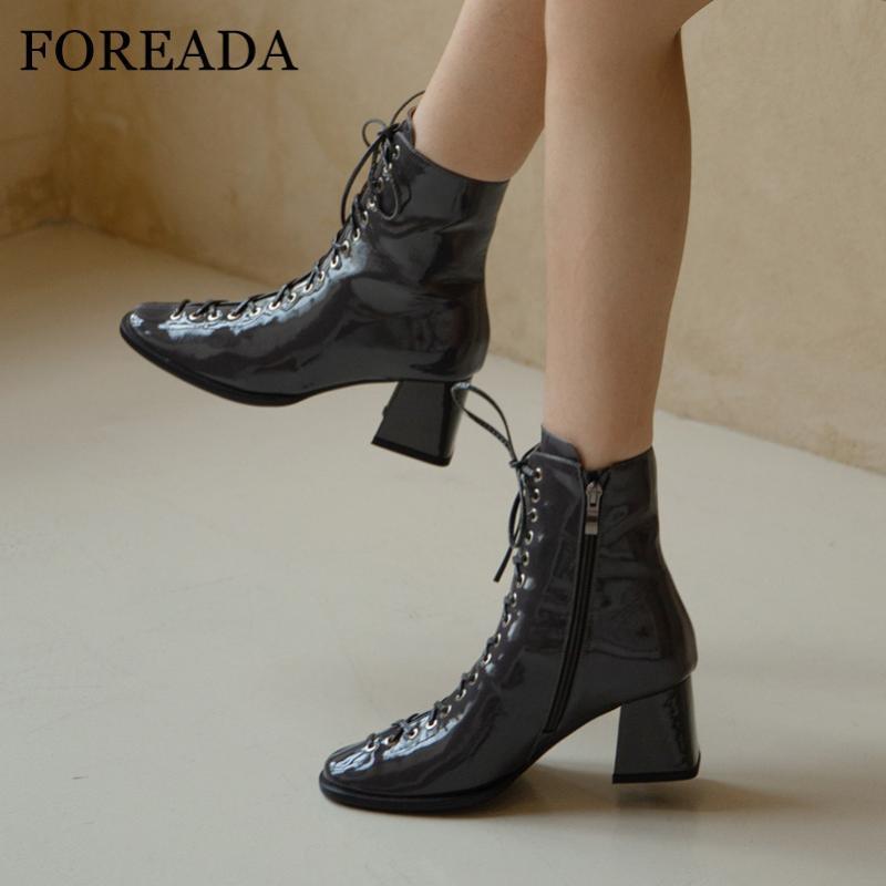 Foreada Botas de tacón alto Talón de tacón alto Natural Cuero genuino Mujer Botas Zip Block Tacón corto Lace Up Female Zapatos Otoño Negro