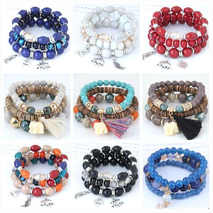 2021 Hot Fashion Ocean Style Multcolor Bracelet Sets Bohemian beaded bracelet Jewelry For women Free shipping