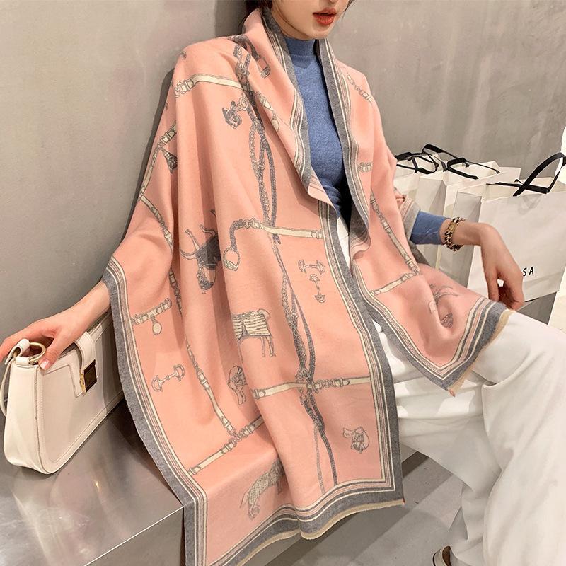 2020 Luxe Cachemire femmes hiver chaud châles et Design Cheval Imprimer Bufanda Echarpes couverture épaisse