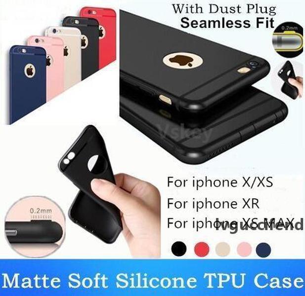 Ultra-ince Mat Buzlu Yumuşak TPU Telefon Kılıfı Şeker Renk Silikon Darbeye Kapak iphone x XS Max XR 8 7 6 Artı Toz Fişi ile