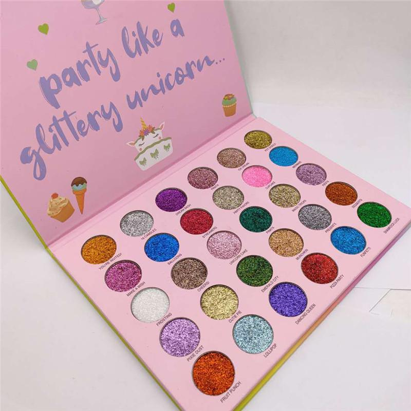 최신 메이크업 아름다움 30colors 반짝이 행복한 유니콘 반짝이 파티 아이 섀도우 팔레트 고품질