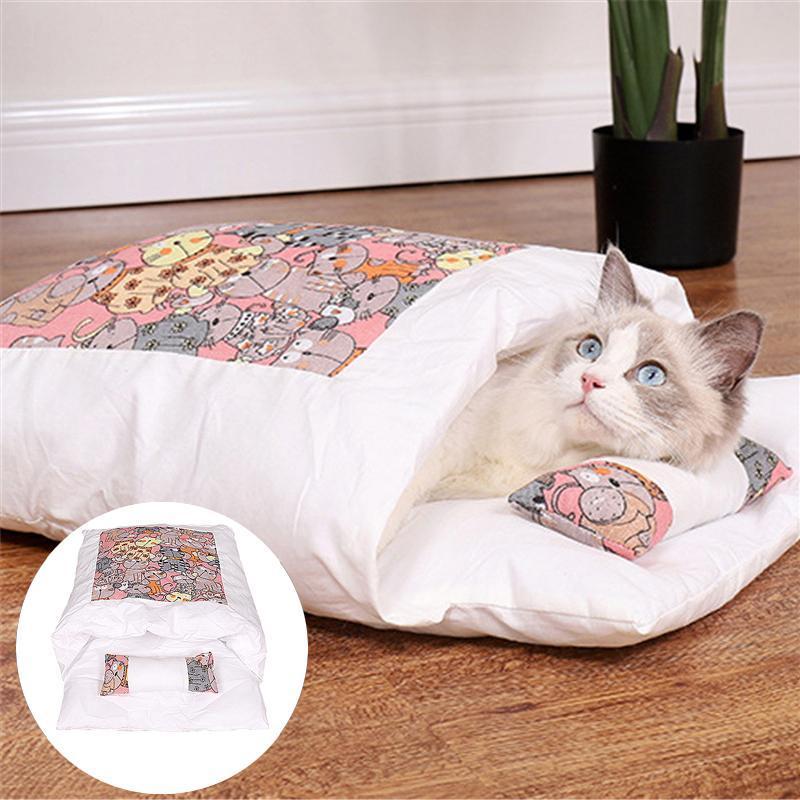 Kedi Yatakları Mobilya Japon Çöp Uyku Tulumu Çıkarılabilir ve Yıkanabilir Kapalı Tipi Sıcak tutmak için