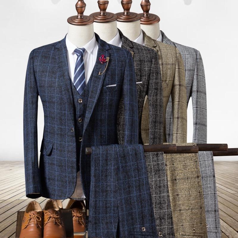 Мужские трексуиты Мораль в Англии Весна и осень 2021 Мужчины Проверенные Платье Трехсектура TOTHE Модный досуг Suite1