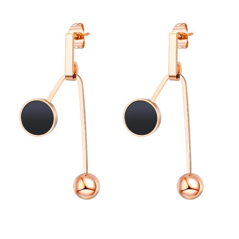 2021 nouvelle géométrie en acier inoxydable perles rondes femmes boucles d'oreilles mode coréenne rose bijoux gold bijoux suspendus boucles d'oreilles en gros