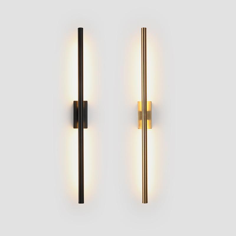 Tube linéaire simple moderne LED en bas fond de fond opposé lumière murale LED foyer de chevet corridor noir or sconce wf1016
