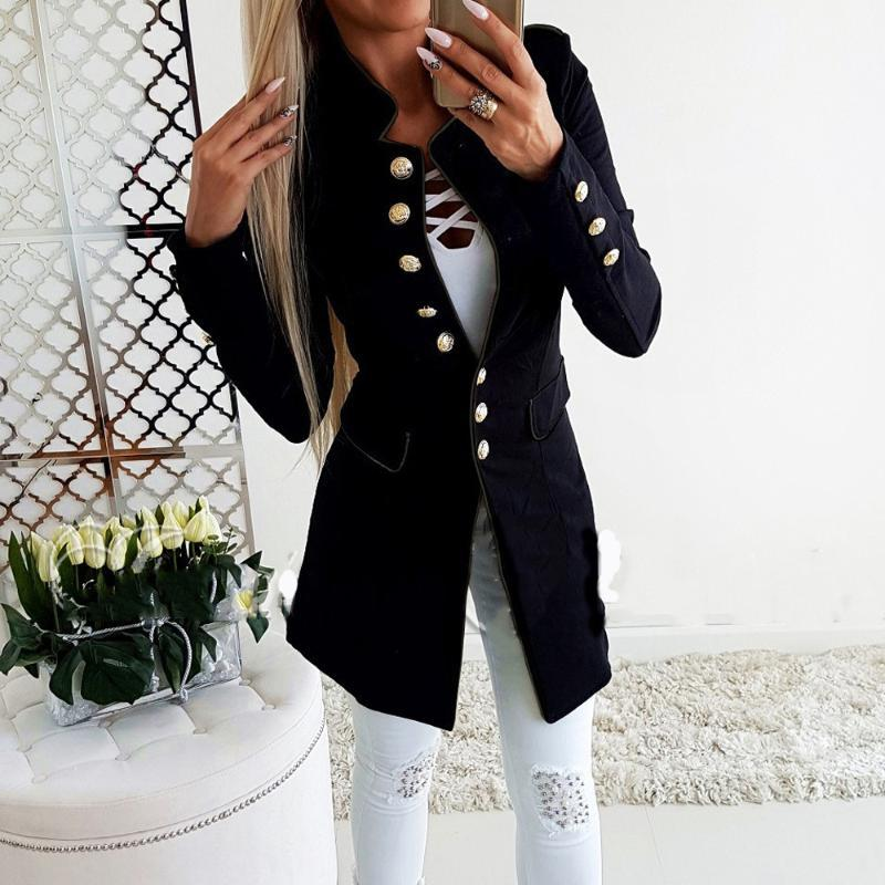Women Jacket 2020 New Simple Office Lady Lapel Suit Coat Long-Sleeve Jacket Button Coat Female Solid Turn-down Collar Long Coats