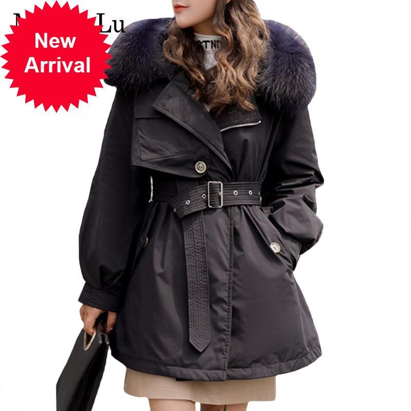 Max Lulu 2020 Winter Nouveau Coréen Designer Vêtements Femmes Véritable Collier de fourrure Parkas Dames Casual Duck Duck Down Jacket Quilté