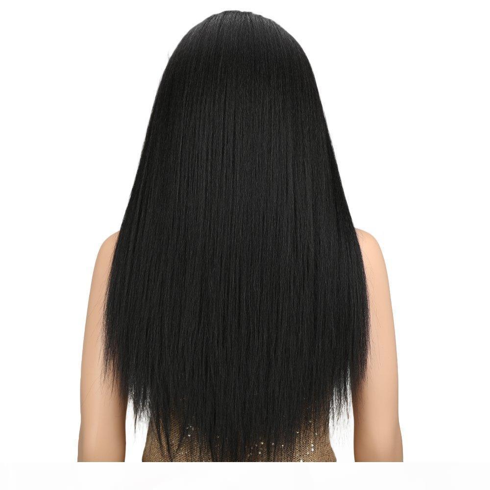 Siyah Uzun Yaki Bebek Saç Hight Sıcaklık Sentetik Peruk İçin Kadınlar Ücretsiz Kesme ile Düz Dantel Frontal Peruk