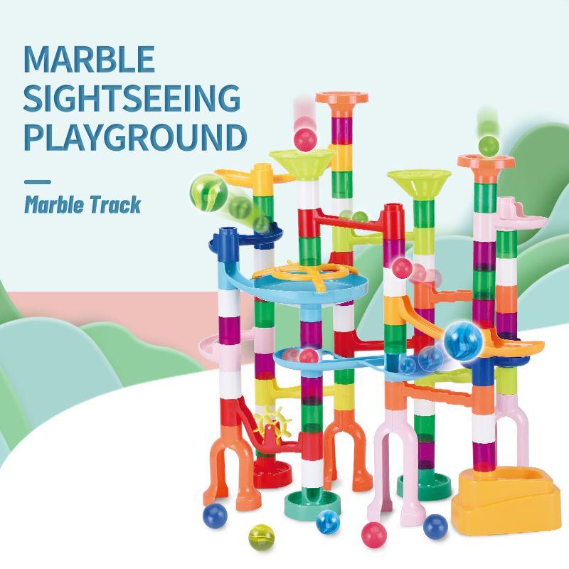 TW2009013 DIY puzzle slide block 105PCS DIY self-assembly track ball blocks Marble sightseeing playground