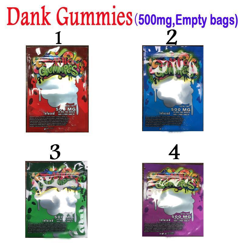 4 sabores 500 mg vacíos gummies dankies comestibles bolsas de embalaje canna mantequilla galletas chips lol olor a prueba de mylar paquete