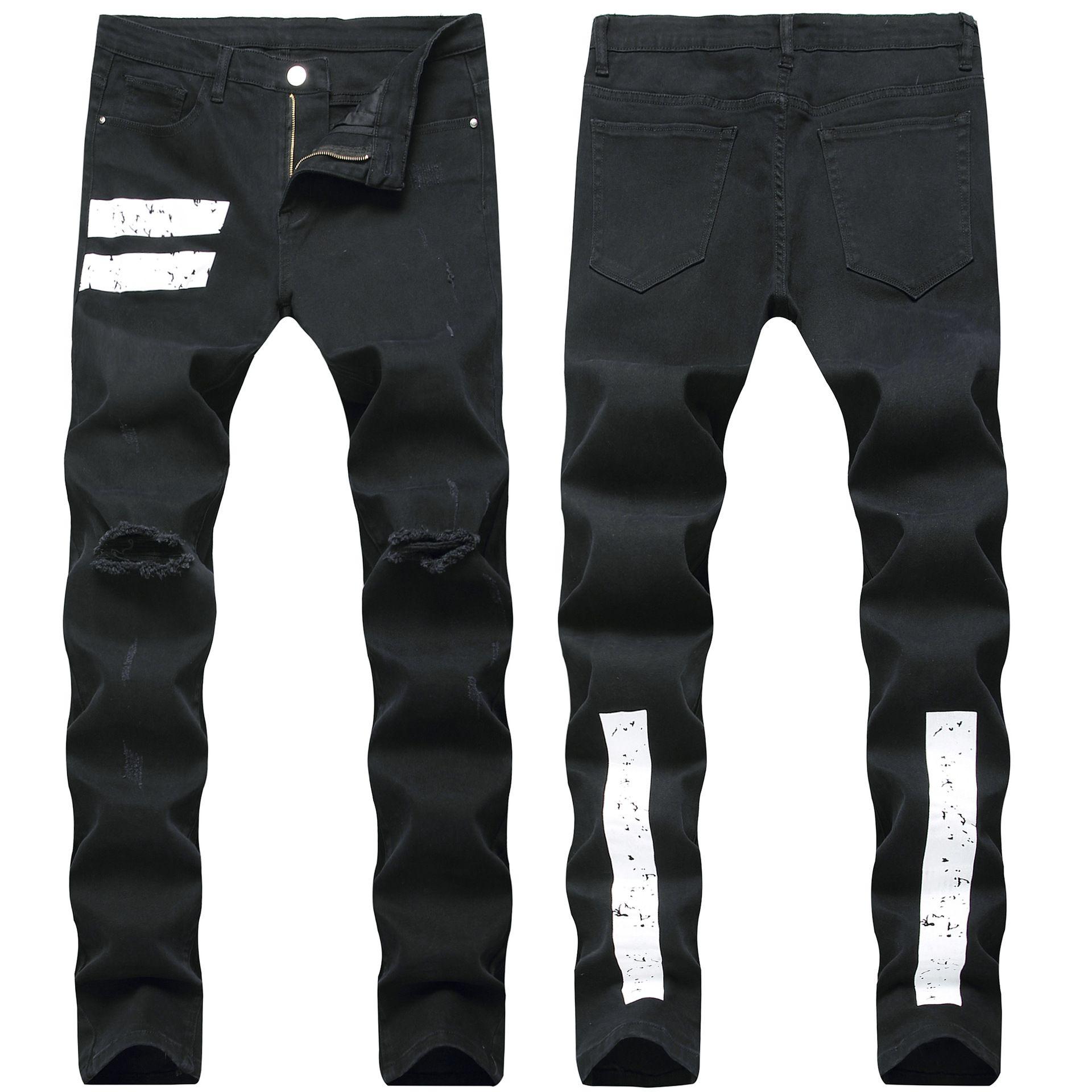Sıska Erkek Kot Serin Erkekler Sıkıntılı Yırtık Kot Streç Slim Fit Denim Biker Jeans Hip Hop Erkekler Streetwear 1333 #