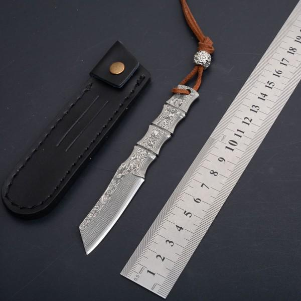 1Pcs New Small Damascus Fixed Blade Knife VG10 Damascus Steel Tanto Point Blade Full Tang Bamboo Handle With Leather Sheath