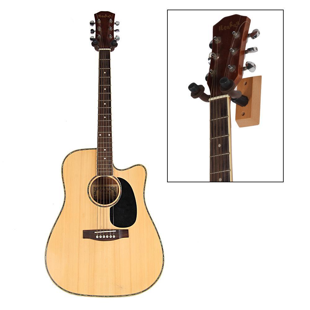 Punk Acoustic Gitarre Wandhalterung Kleiderbügel Metall Gitarre Halter Rack Haken W / Gummihülle Holzsockel Für Gitarre Bass VIO EEF4877