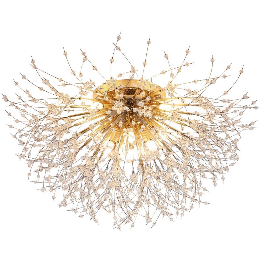 Nordic Yatak Odası Kristal Tavan Işık Armatürleri Modern Altın LED Işıklar Oda Oturma Odası Için Kristal Lamba Net Kırmızı Yemek Odası Tavan Lambaları