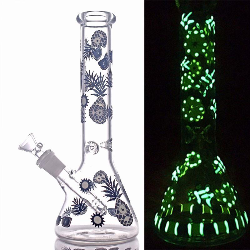 Alta Qualidade 10.5inch Glass Beaker Bong Brilho no Bongo de Vidro Escuro com 14mm grande tamanho de queimador de óleo e downstem