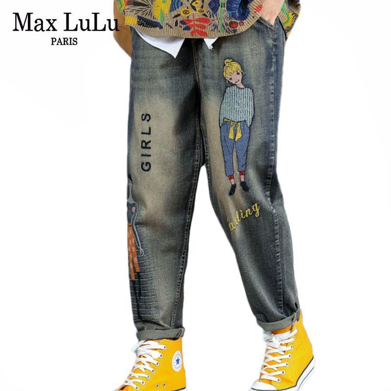 Max Lulu Otoño Moda coreana Otoño Señoras Punk Streetwear Womens Bordado Ripped Jeans Vintage Femenino impreso Harem Pantalones A1119