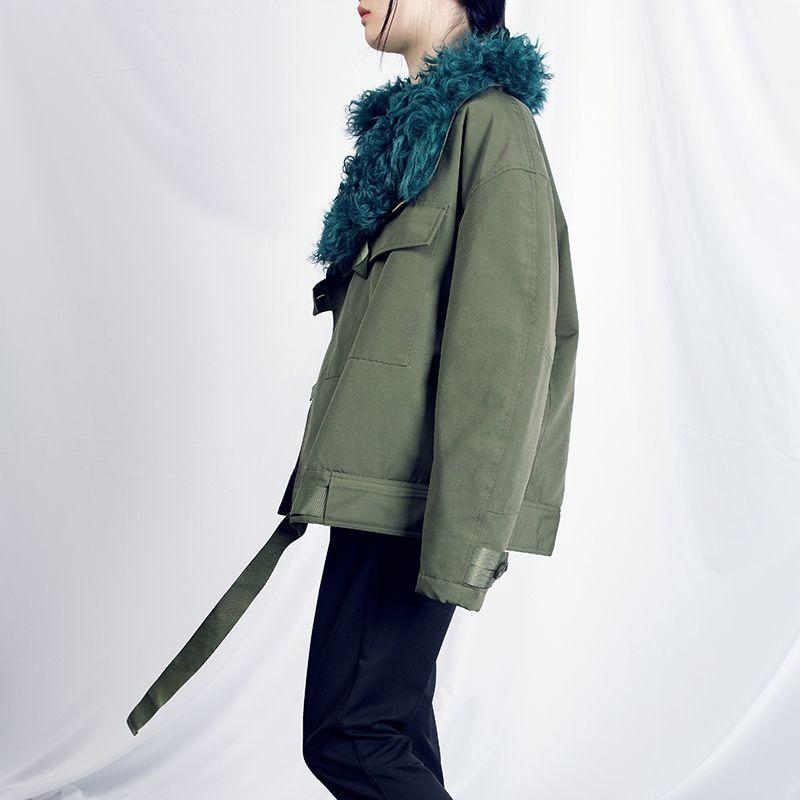 2019 venda apressado jaqueta feminina casaco casaco mulheres exército ferramental de inverno cordeiro colarinho jaqueta de motocicleta espessa fêmea