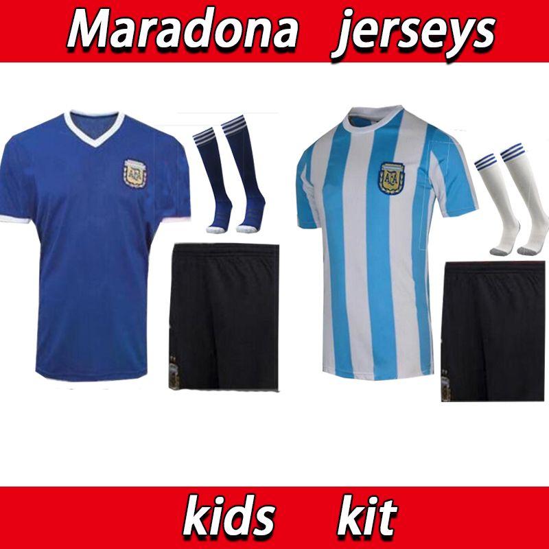 Maradona 1986 Аргентина Детский комплект Maradona # 10 Ретро Человек Футбол Джерси Мужчины Детский Кит Ретро Версия 86 Maradona Caniggia Винтажная футболка