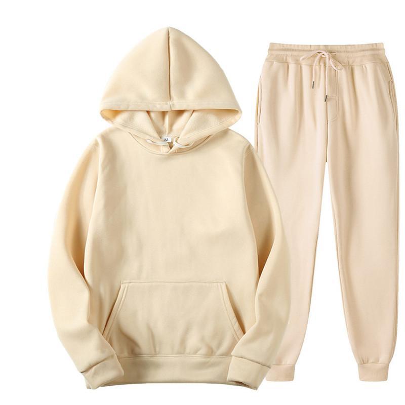 2020 новая мода 2шт спортивный костюм фитнес сплошной цвет женские трексеи с капюшоном пуловер толстовка повседневные брюки наборы спортивной одежды мужчина