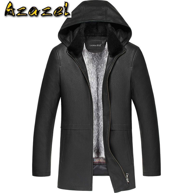 Мужская кожаная искусственная азазель зимняя куртка мужчины реальная шуба для детелькина подлинные мужские ножи куртки Parka LN-181306 KJ2301