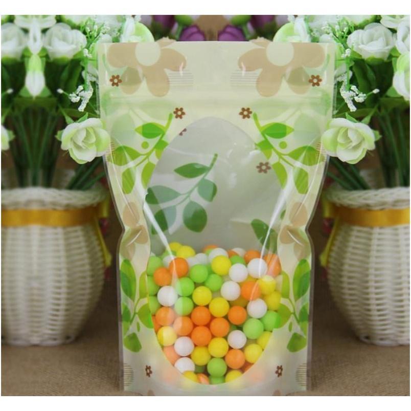 Impression verte Belle sac en plastique Sac de rangement alimentaire sac d'emballage en plastique sac à glissière SQCHOV PP2006