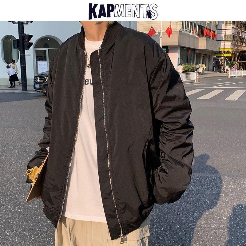 Мужские Parkas Kapments Мужская зимняя улица Harajuku бейсбол для бейсбола 2021 мужская винтажная японская куртка бомбардировщик мужская твердая ветровка