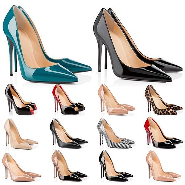 أعلى عالية الكعب الأحمر قيعان المرأة كعب 8 10 12 سنتيمتر جلد طبيعي نقطة تو مضخات المطاط الزفاف مأدبة اللباس أحذية حجم 35-42
