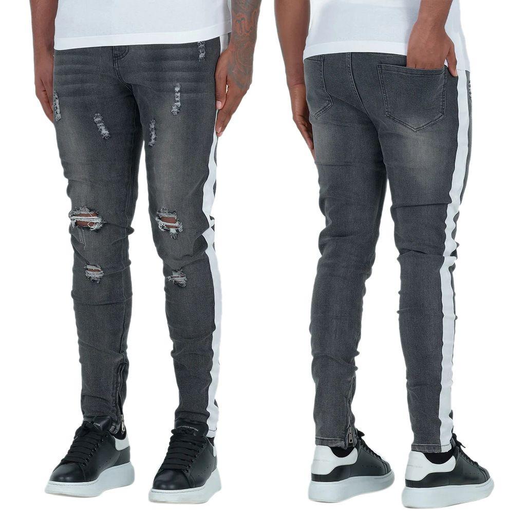 JX7005 jeans masculinos com faixa e buracos cinzentos profundos