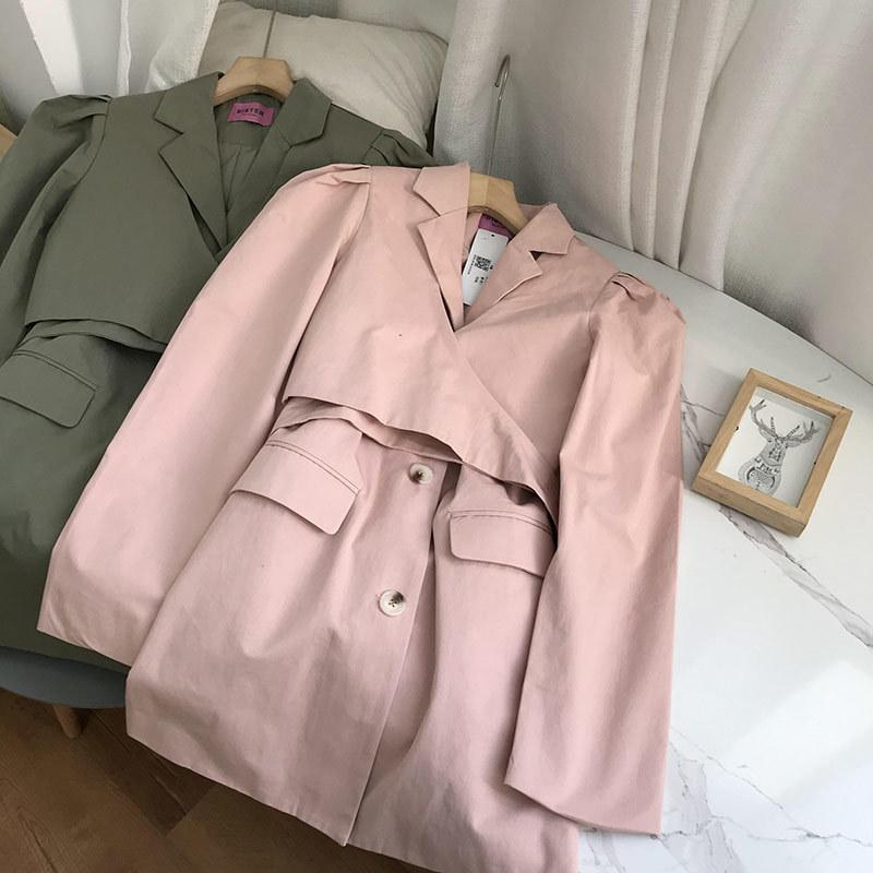 Long Sleeve Jacket Women's suit collar single breasted medium and long temperament Korean winter new 0.59kgk#13