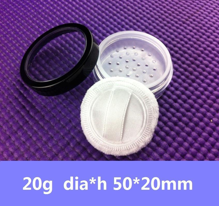 80pcs / lot 20G порошок Контейнер с Compact / Puff черный отделка крышки ж / Вид из окна Пластиковые Круглый Косметические Jar ободом