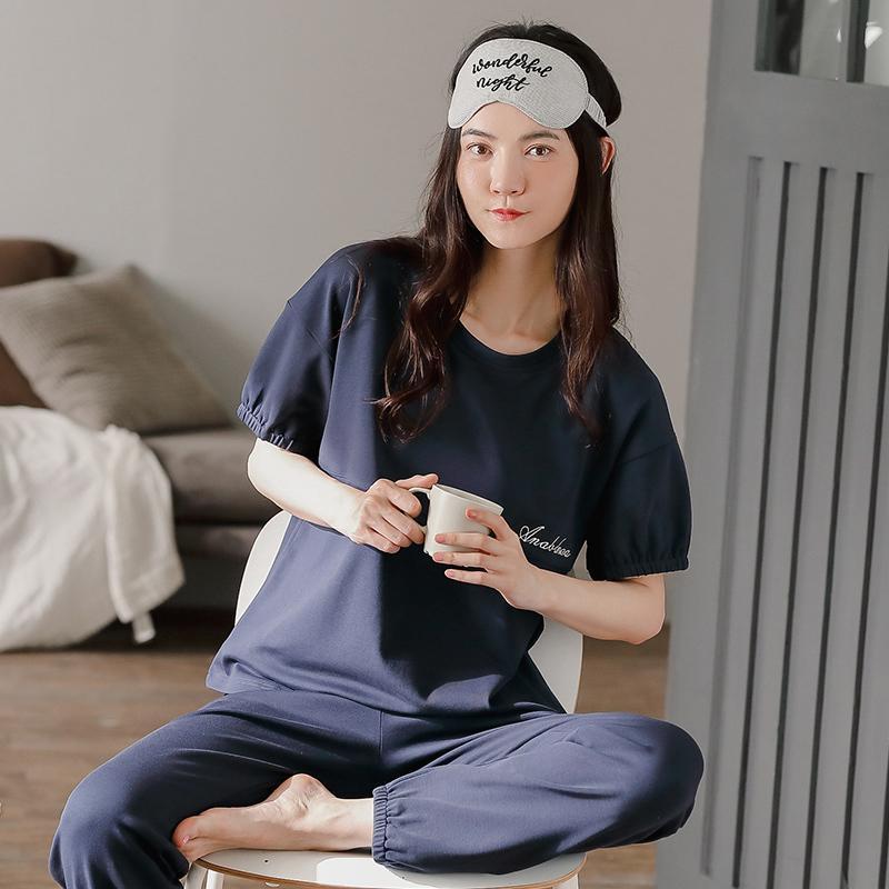 Bzel Elegante Pigiama da donna Pigiama semplice Lettere semplici Top Solid Pijamas Set manica corta Pantaloni lunghi Morbido cotone Loungewear Casual Homewear