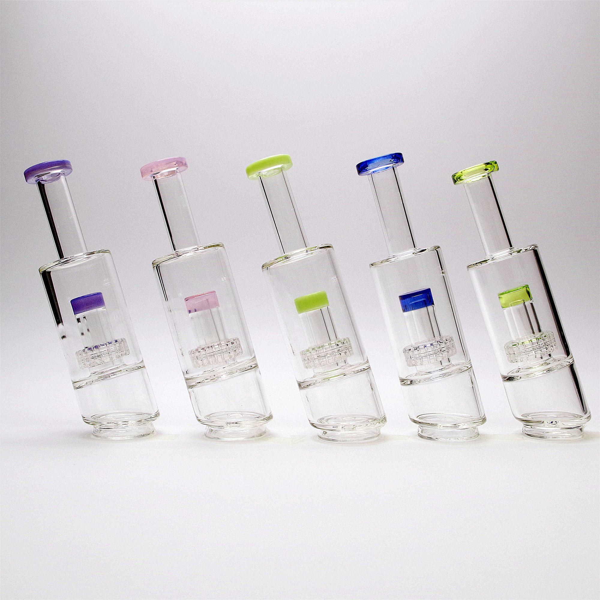 Acessórios de vidro acessórios de fumar tubos acessórios matrix percoladores bongos acessórios claros narguilhashs borda de cor tubulação de água 8 polegadas altura