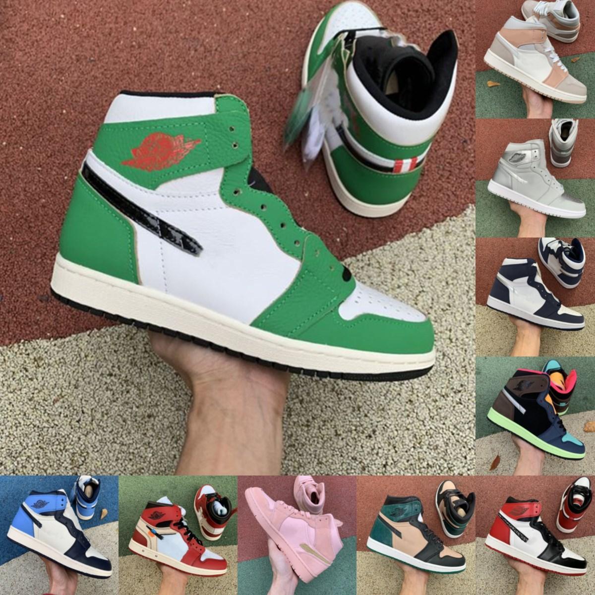 New High Bio Hack Travis Scotts Pine Green 1S Jumpman 1 Мужские Женщины Баскетбольные Обувь Суд Фиолетовый Обсидиан Дым Дерси ЮНС Спортивный Открытый Обувь