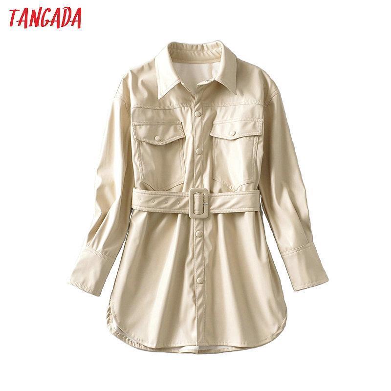 Tangada Femmes Beige Faux Cuir Jacket Manteau 2020 NOUVEAU TABL DOWN COLLAIRES Dames manches longues manches en oversize lâche 6A47