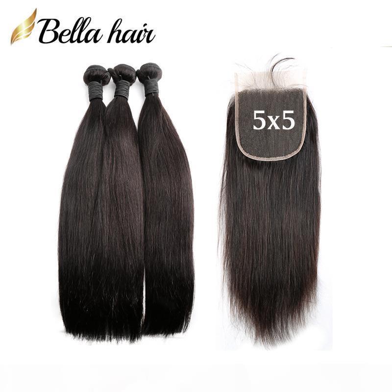 Droite 3 Bundles cheveux avec 5 * 5 fermeture du Pérou Brésil Vierge Noire Cheveux naturels Tissages avec dentelle fermeture Livraison gratuite Bella cheveux