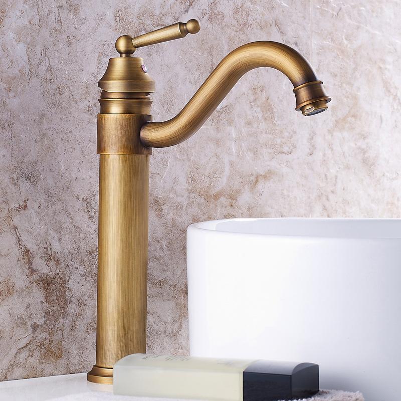 Antikes Messing Badezimmer Wasin Wasserhahn Einzelner Griff Vintage Bronze Hohe alte Retro Wasserhaare Heißkaltem Bad Mixer Wasserwaschbecken Tap