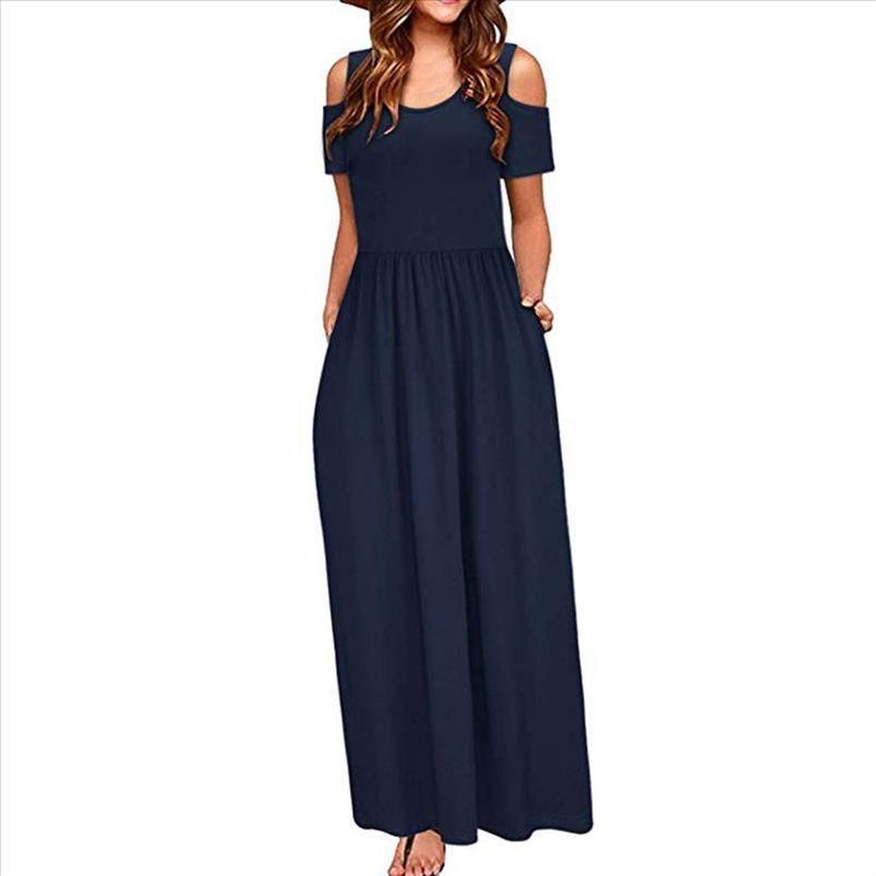 Vestido Mujeres Verano Hombro frío Impresión floral Elegante Maxi Vestido largo Pocket Vestidos Sundress Robe Femme E711