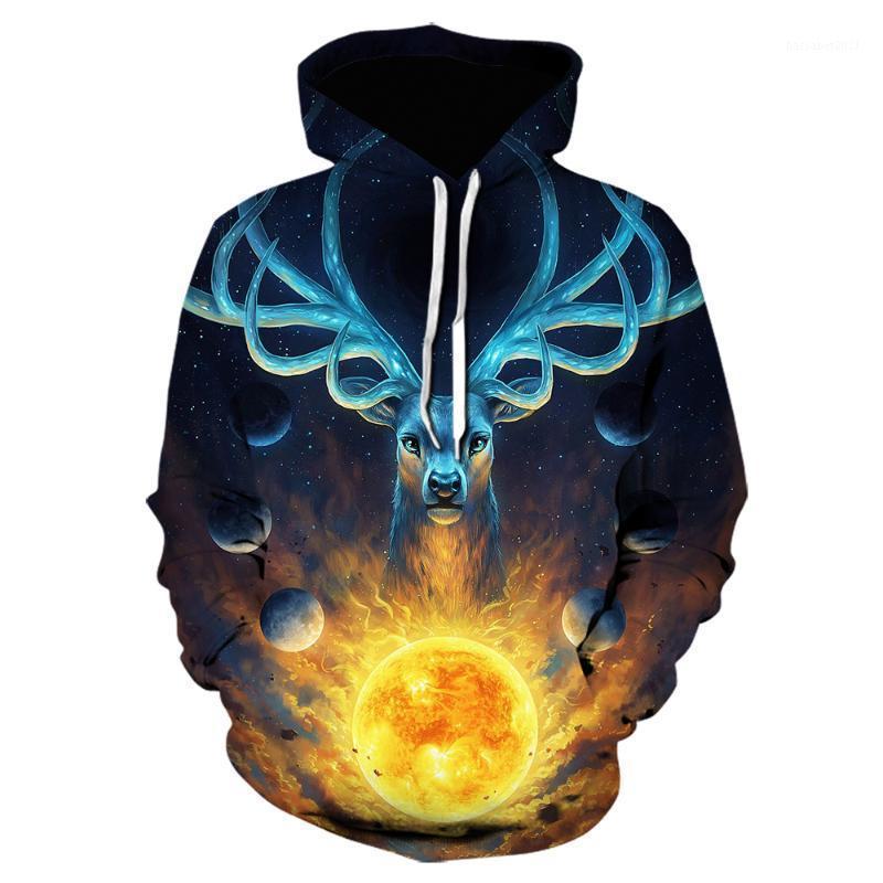 Drop Shipping 2020 NOUVEAU Mode Hommes / Femmes Hoodies Espace animal Galaxy Glow Deer 3D Print Sweat à capuche à capuche élégante