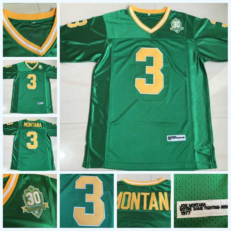 3 Joe Montana Notre Dame Fighting Irlandês 1977 NCAA College Football Jersey Dupla nome de logotipos em estoque Fast Shipping