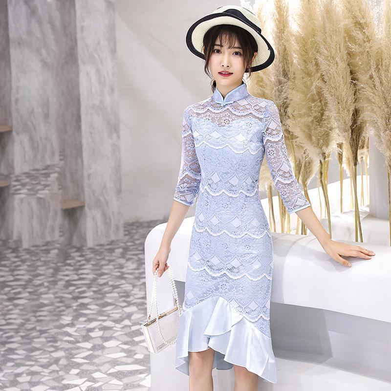Этническая одежда весенние кружева короткие китайские традиционные женщины Qipao винтажные восточные женские женские Cheongsam новинка формальное платье M - 3xL1