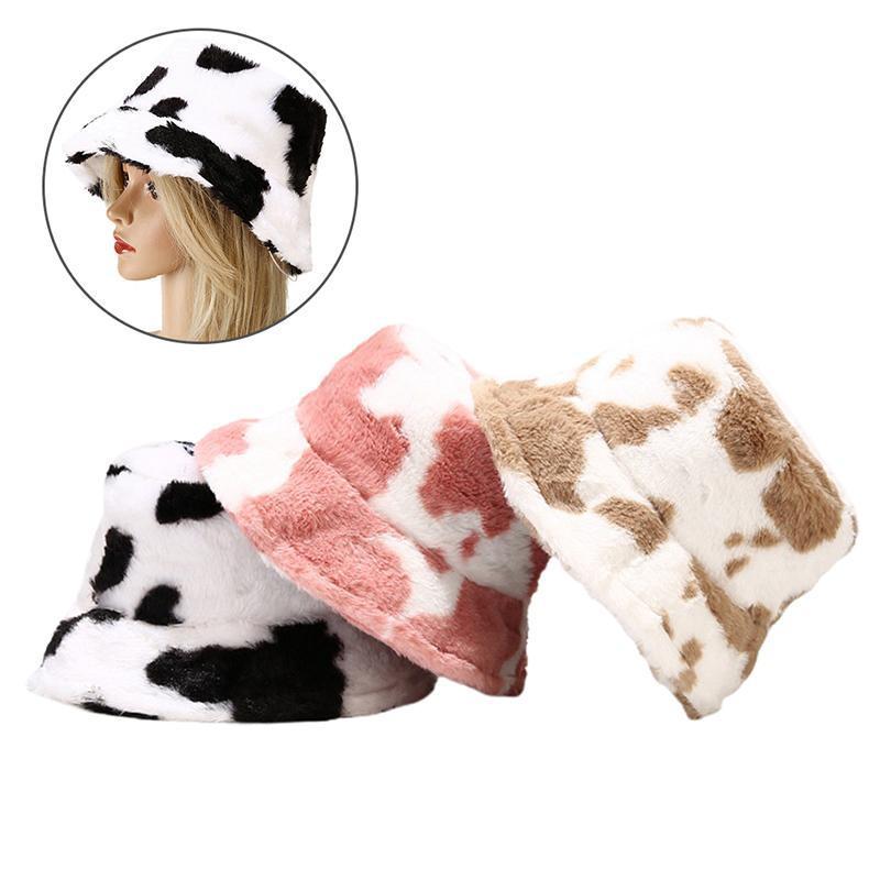Hiver vachette léopard imprimé peluche godet chapeaux pour femme chaude extérieure chaude telle de pêche capuchon