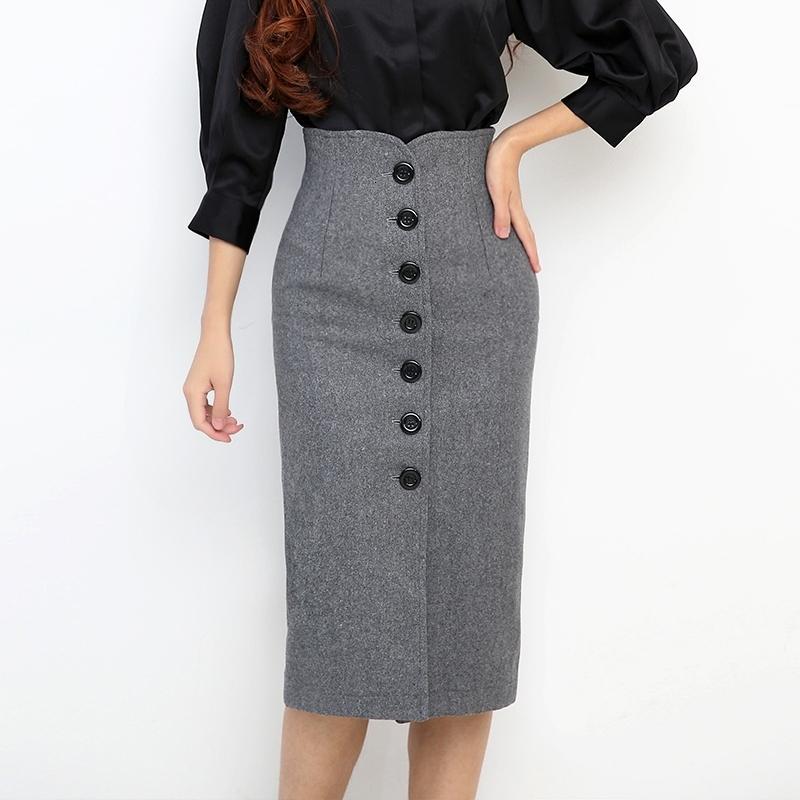 2021 Новая толстая шерсть высокая талия женская осень зима винтажная кнопка пакет бедра элегантный офис леди карандаш юбка женщина юбки N63J