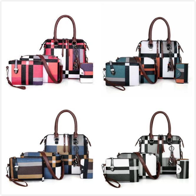 여러 색 4 개 / 세트 디자인 핸드백 메신저 가방 스티치 컬러 PU 가죽 지원 가방 여성 선물