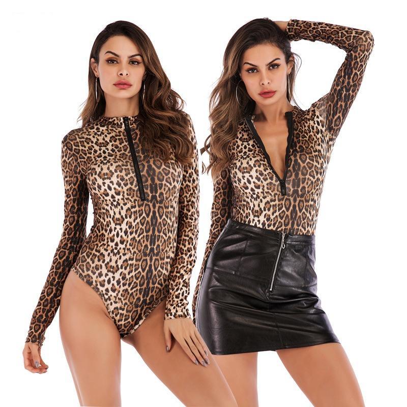 Осенние женские leopard mid шеи с длинным рукавом zipper на молнии Сексуальная желтая печать женский пуловер тощий боди